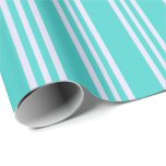 [ Thumbnail: Turquoise & Lavender Colored Lines Wrapping Paper ]