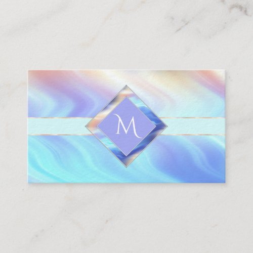 Turquoise Lavender Monogram Business Card