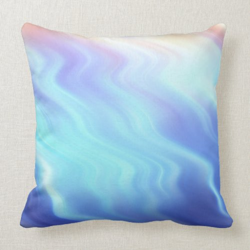 Turquoise Lavender Waves Throw Pillow