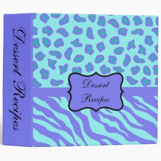 Turquoise & Lavender Zebra & Cheetah Customized 3 Ring Binder
