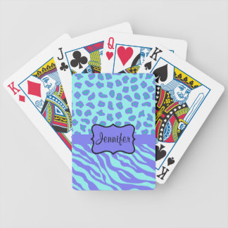 Turquoise & Lavender Zebra & Cheetah Customized Bicycle Playing Cards