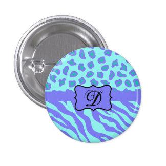 Turquoise & Lavender Zebra & Cheetah Customized Button