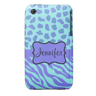 Turquoise & Lavender Zebra & Cheetah Customized iPhone 3 Cover