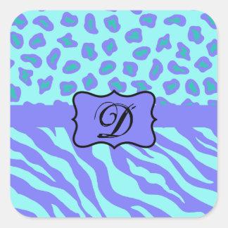 Turquoise & Lavender Zebra & Cheetah Customized Square Sticker