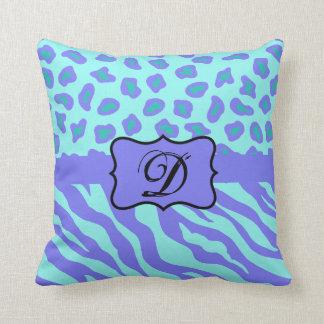 Turquoise & Lavender Zebra & Cheetah Customized Throw Pillow