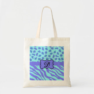 Turquoise & Lavender Zebra & Cheetah Customized Tote Bag