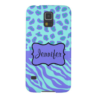 Turquoise Lavender Zebra Leopard Name Personalized Cases For Galaxy S5