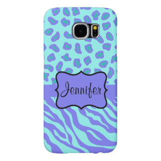 Turquoise Lavender Zebra Leopard Name Personalized Samsung Galaxy S6 Cases