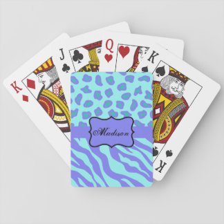 Turquoise Lavender Zebra Leopard Skin Name Custom Playing Cards