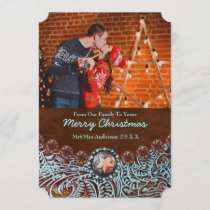 Turquoise Leather Country Western Christmas Photo Holiday Card