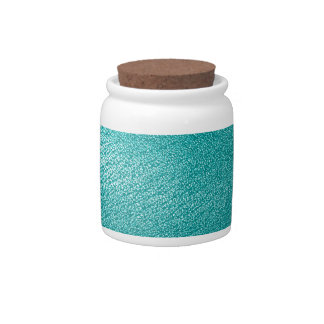 Turquoise Leather Look Candy Jars