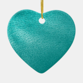 Turquoise Leather Look Ceramic Ornament