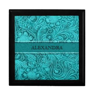 Turquoise Leather Look Embossed Flowers-Monogram Gift Box