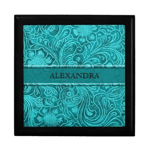 Turquoise Leather Look Embossed Flowers-Monogram Keepsake Boxes
