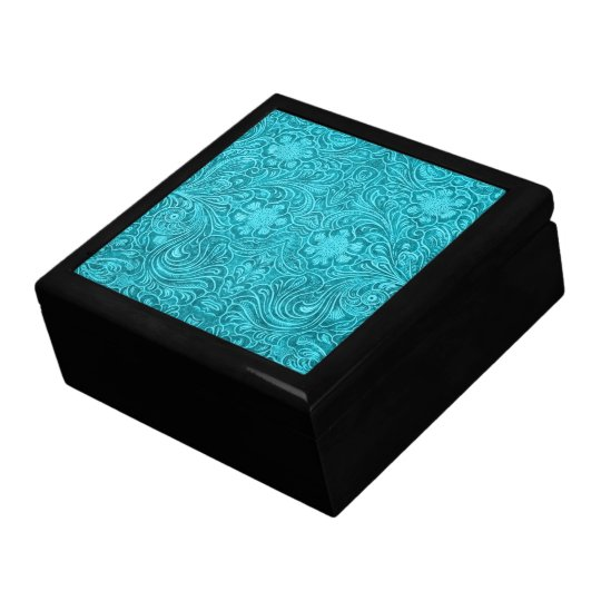 Turquoise Leather Look Embossed  Retro Flowers Keepsake Box