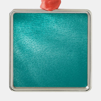 Turquoise Leather Look Metal Ornament