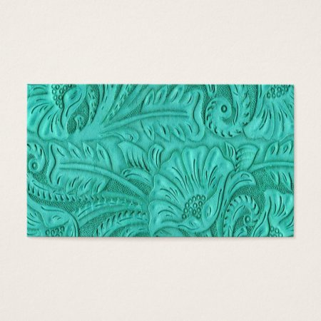 Turquoise Leather Print Business Cards