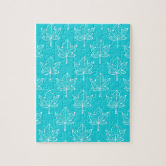 Turquoise Leaves Jigsaw Puzzle