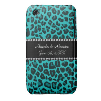 Turquoise leopard pattern wedding favors iPhone 3 Case-Mate case