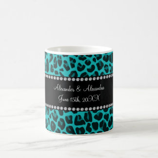 Turquoise leopard pattern wedding favors coffee mug