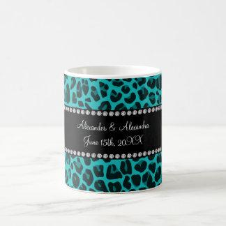 Turquoise leopard pattern wedding favors coffee mug