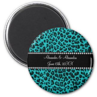 Turquoise leopard pattern wedding favors magnet