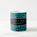 Turquoise leopard pattern wedding favors mugs