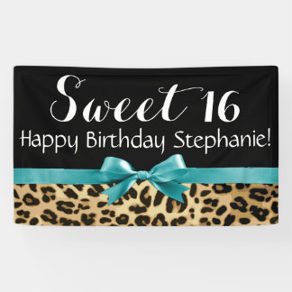 Turquoise Leopard Print Sweet 16 Birthday Party Banner
