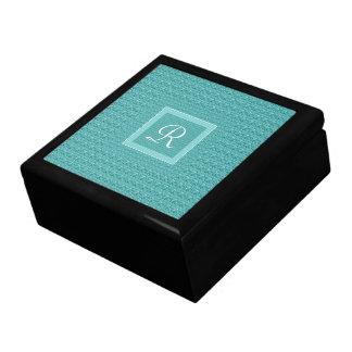Turquoise (Letter R) Monogram design. Per Jewelry Box