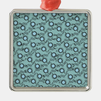 Turquoise light pattern polka dots metal ornament