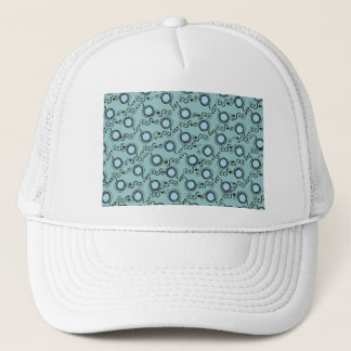Turquoise light pattern polka dots trucker hat
