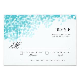 Turquoise Light Shower   Pretty RSVP Response Card