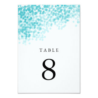 Turquoise Light Shower Table Number Cards