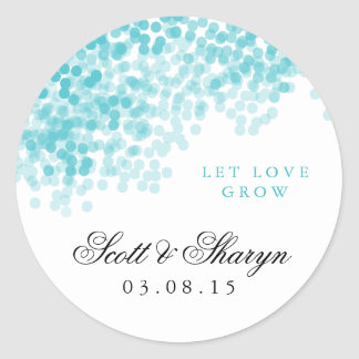Turquoise Light Shower Wedding Favor Stickers