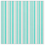 [ Thumbnail: Turquoise & Light Yellow Stripes Pattern Fabric ]