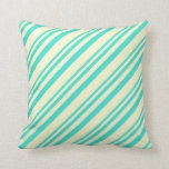 [ Thumbnail: Turquoise & Light Yellow Stripes Pattern Pillow ]