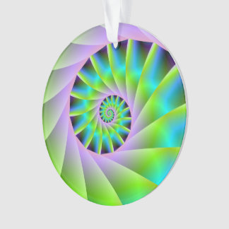 Turquoise Lilac and Green Spiral Ornament