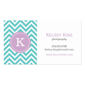 Turquoise & Lilac Purple Chevron Custom Monogram Business Card