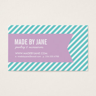 Turquoise & Lilac Purple Modern Stripes & Ribbon Business Card