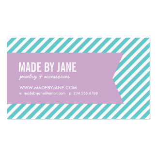 Turquoise & Lilac Purple Modern Stripes & Ribbon Business Card Templates