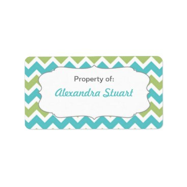 Beach Themed Turquoise & Lime Chevron Property of School ID Label