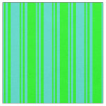 [ Thumbnail: Turquoise & Lime Colored Lines Fabric ]