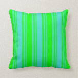 [ Thumbnail: Turquoise & Lime Colored Lines Throw Pillow ]