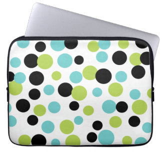 Turquoise Lime Dots Laptop Sleeve