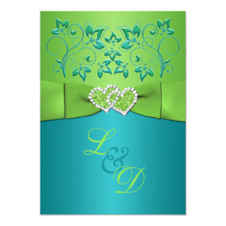 Turquoise Lime Fl Joined Hearts Invitation