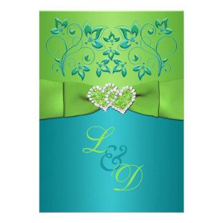 Turquoise Lime Floral Joined Hearts Invitation 2