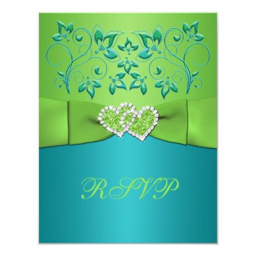 Valentines Themed Turquoise, Lime Floral Joined Hearts RSVP Card