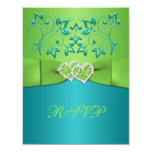 Turquoise, Lime Floral Joined Hearts RSVP Card Custom Announcement
