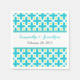 Turquoise & Lime Green Cross Pattern Wedding Napkin