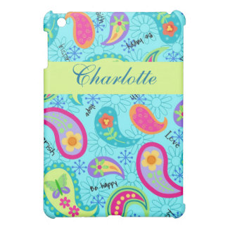 Turquoise Lime Green Modern Paisley Pattern Name Cover For The iPad Mini